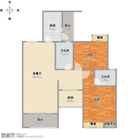 海宇学府江山2室1厅2卫1厨122.00㎡户型图