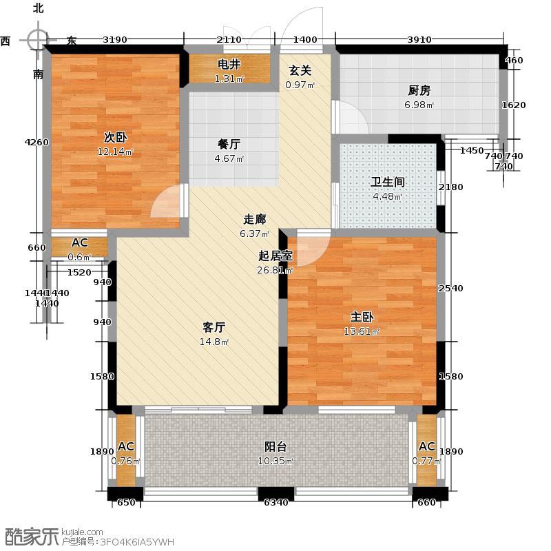 绿洲湾89.00㎡G5-3楼户型2室2厅1卫LL