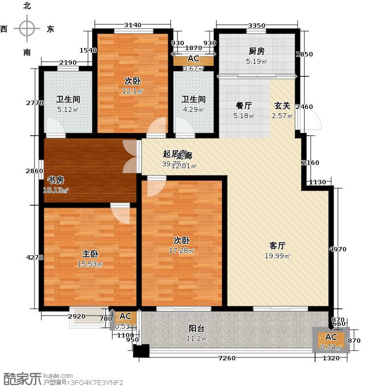金域华庭138.00㎡7号楼D户型4室2厅2卫LL
