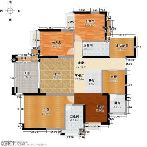 建曙高尔夫1号3室1厅2卫1厨121.00㎡户型图
