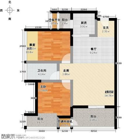 星河澜月湾2室0厅1卫1厨84.00㎡户型图