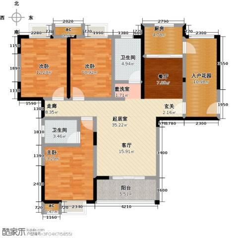 仙桃东城国际3室0厅2卫1厨149.00㎡户型图