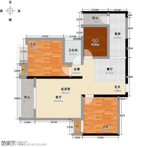 仙桃东城国际3室0厅1卫1厨110.00㎡户型图
