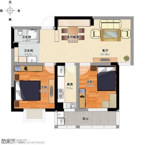 康恒悦麒美寓2室1厅1卫1厨94.00㎡户型图