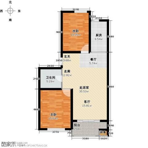 紫金湾2室0厅1卫1厨93.00㎡户型图
