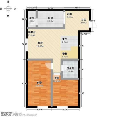 汇雄时代2室1厅1卫2厨96.00㎡户型图