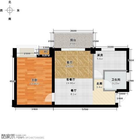 尚城国际1室1厅1卫1厨62.00㎡户型图