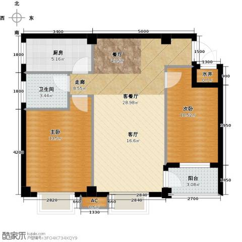 尚城国际2室1厅1卫1厨85.00㎡户型图