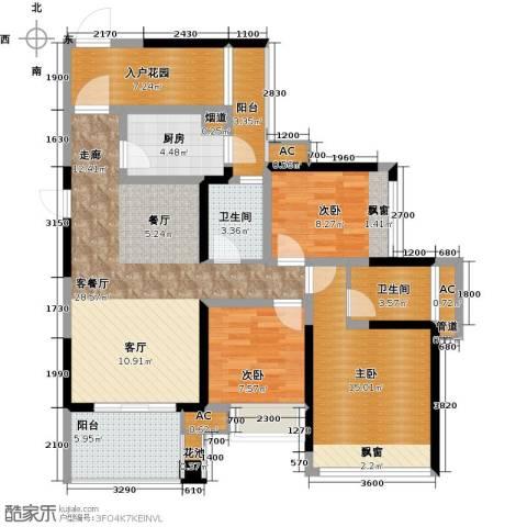 建曙高尔夫1号3室1厅2卫1厨96.00㎡户型图