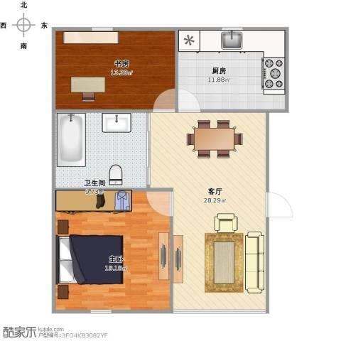 格林花园2室1厅1卫1厨109.00㎡户型图