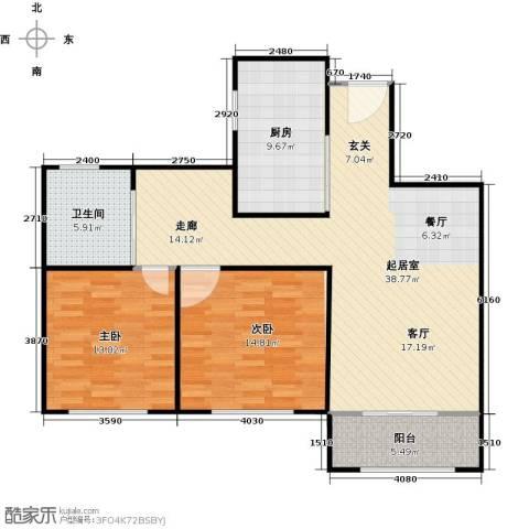湖畔林语2室0厅1卫1厨94.00㎡户型图
