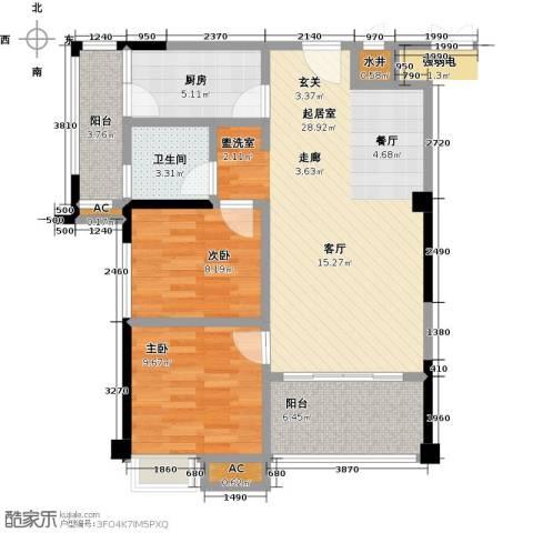 禹洲城上城2室0厅1卫1厨77.00㎡户型图