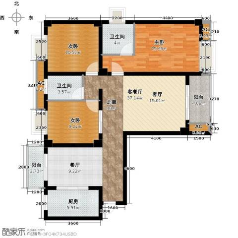 尚城国际3室1厅2卫1厨122.00㎡户型图