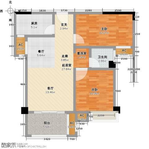 禹洲城上城2室0厅1卫1厨96.00㎡户型图