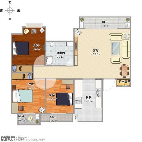 金石花园3室1厅1卫1厨185.00㎡户型图