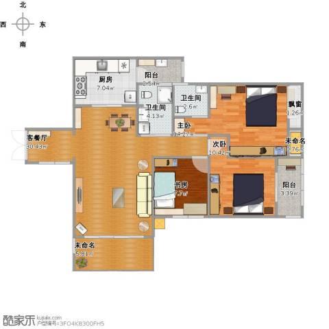 清风华园3室1厅2卫1厨124.00㎡户型图