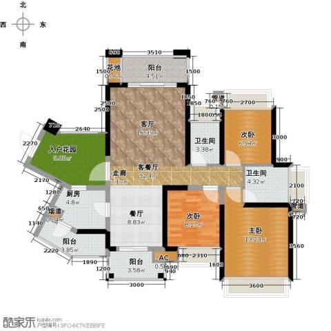 建曙高尔夫1号3室1厅2卫1厨107.00㎡户型图