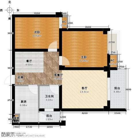尚城国际2室1厅1卫1厨83.00㎡户型图