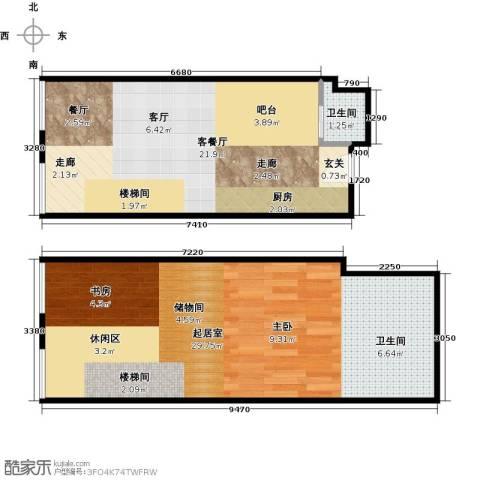TOUCH悦城1厅1卫0厨56.00㎡户型图