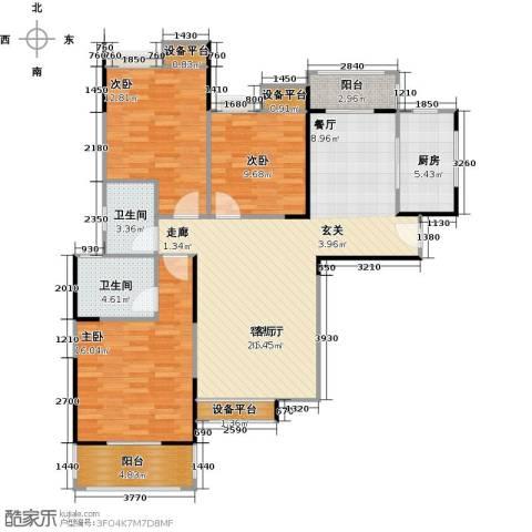 奥山星城3室1厅2卫1厨123.00㎡户型图