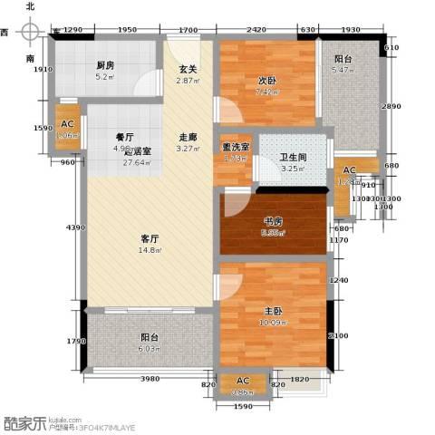禹洲城上城3室0厅1卫1厨108.00㎡户型图