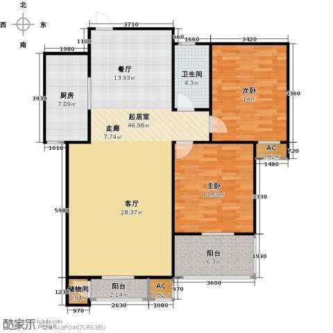 钟秀花园2室0厅1卫1厨130.00㎡户型图