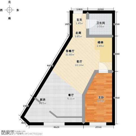 汇雄时代1室1厅1卫0厨63.00㎡户型图