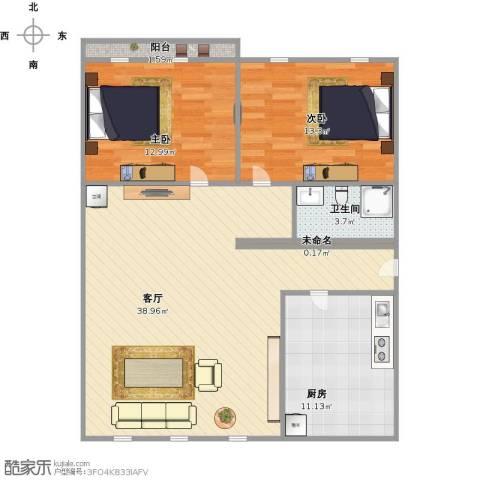 华庆里2室1厅1卫1厨110.00㎡户型图