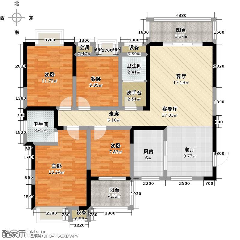 阳光尊邸户型4室1厅2卫1厨