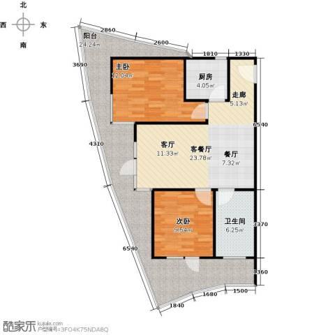 海天翼2室1厅1卫1厨109.00㎡户型图