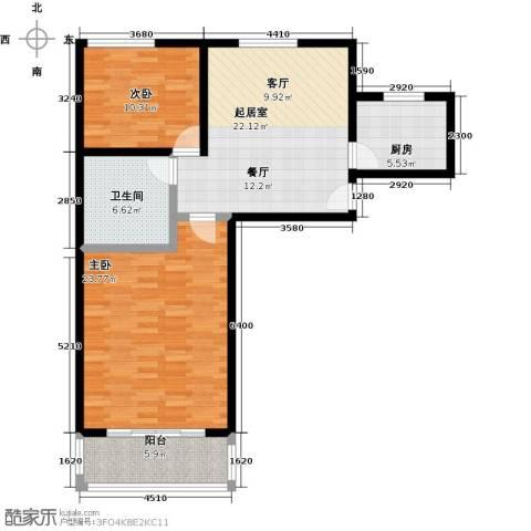 卓峰尚府2室0厅1卫1厨90.00㎡户型图