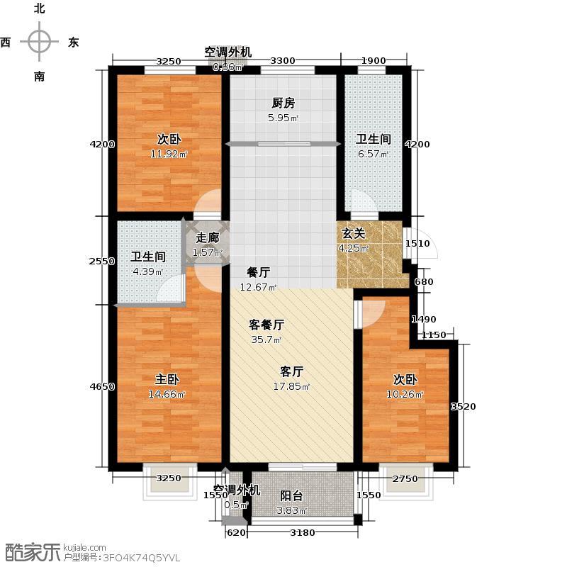 东联阳光尚城118.66㎡F1户型3室2厅2卫