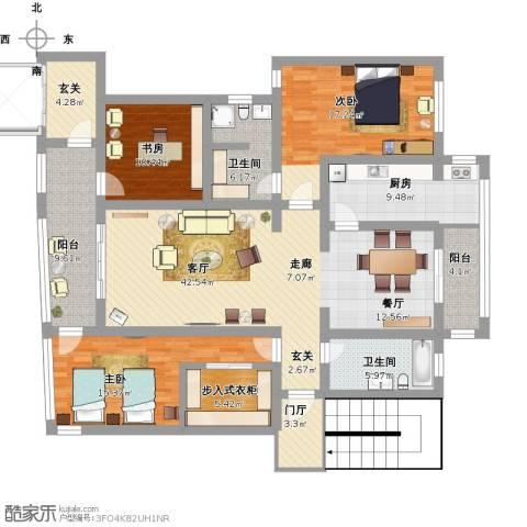 鸿德花园6号楼3室1厅2卫1厨201.00㎡户型图