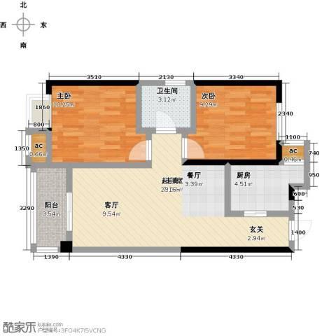 仙桃东城国际2室0厅1卫1厨81.00㎡户型图