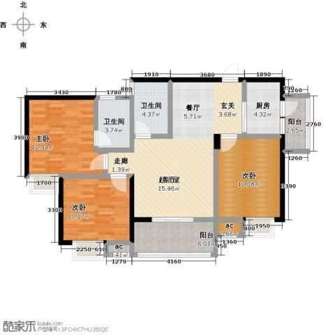 仙桃东城国际3室0厅2卫1厨121.00㎡户型图