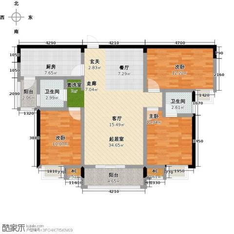 仙桃东城国际3室0厅2卫1厨127.00㎡户型图