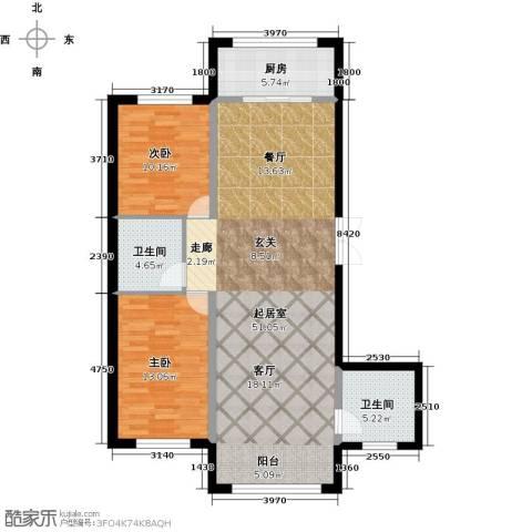 万象国际2室0厅2卫1厨124.00㎡户型图