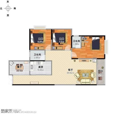 新世纪.领居景福轩3室2厅2卫1厨109.00㎡户型图