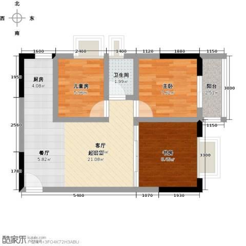 历昌华庭3室0厅1卫0厨71.00㎡户型图