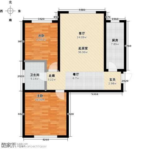 恒奥凤凰城2室0厅1卫1厨91.00㎡户型图