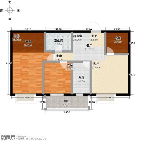 中富阳光景苑3室0厅1卫1厨129.00㎡户型图