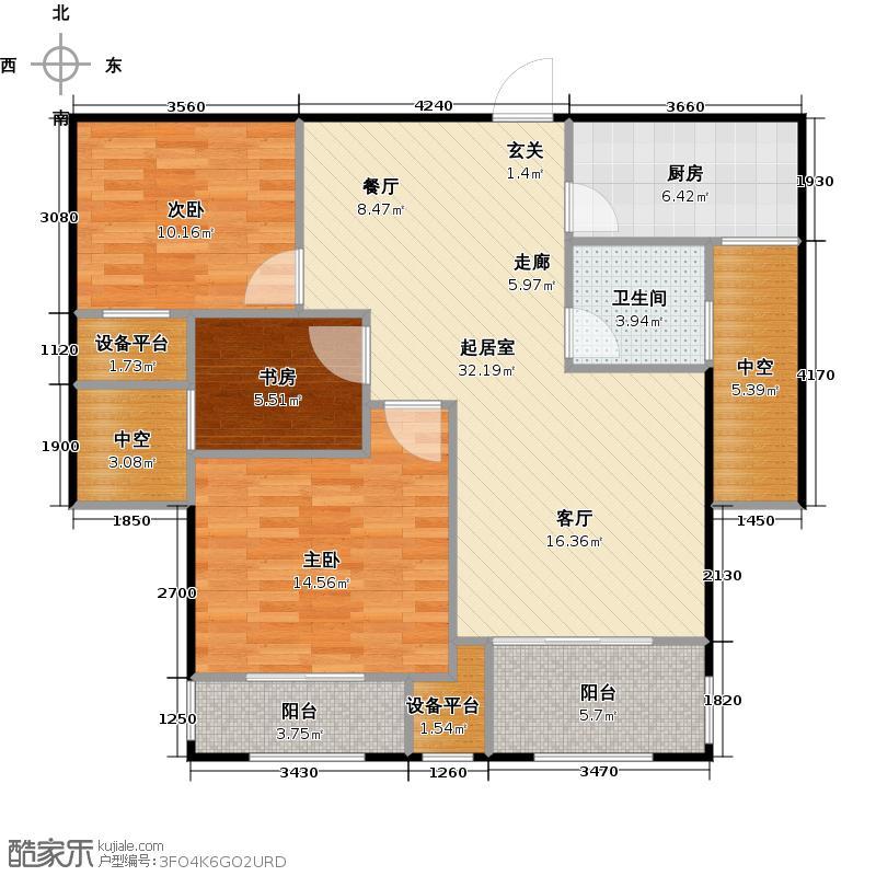 安特紫荆城户型3室1卫1厨
