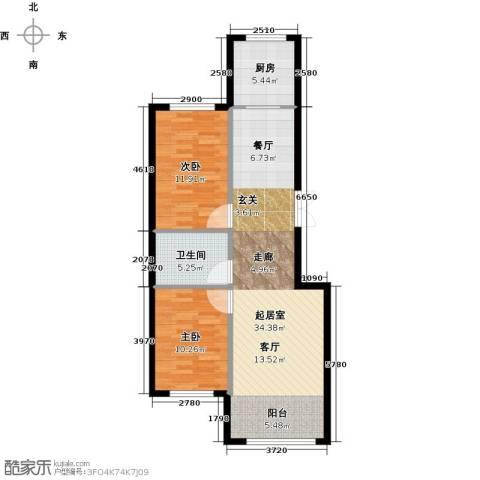 万象国际2室0厅1卫1厨106.00㎡户型图