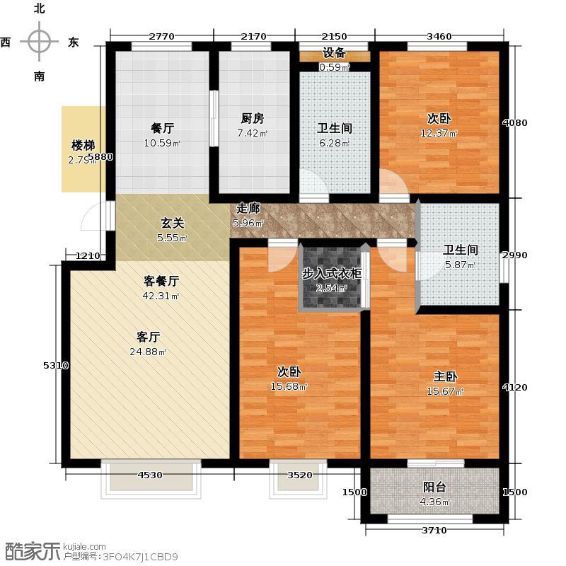 天华・新城佳苑130.00㎡B户型3室2厅2卫