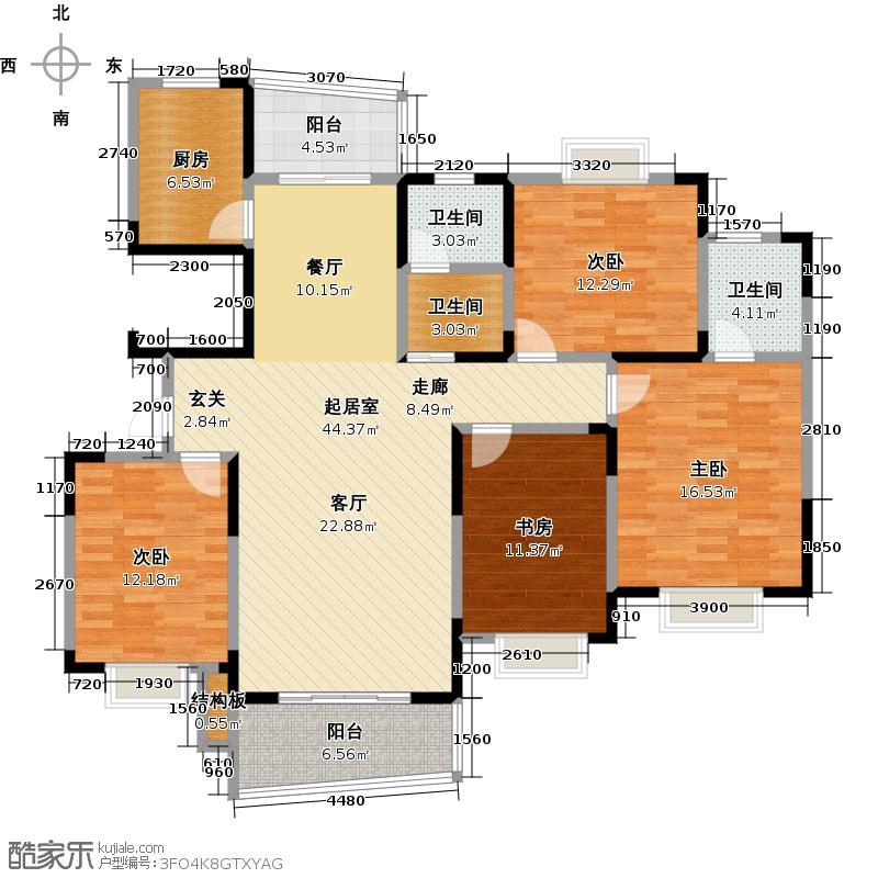 西子一间164.19㎡四房二厅二卫-164.19平方米-6套户型