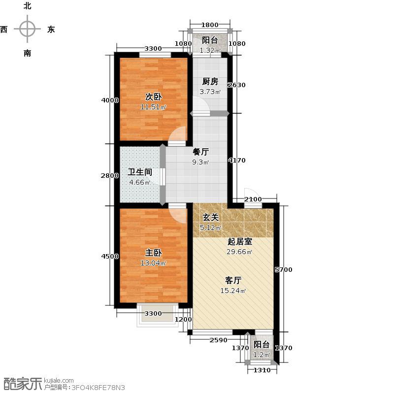 共荣时代新城三期D户型2室1卫1厨
