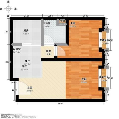 海吉星星世界1室0厅1卫1厨61.00㎡户型图