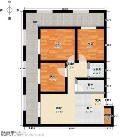 海吉星星世界3室0厅1卫1厨116.00㎡户型图