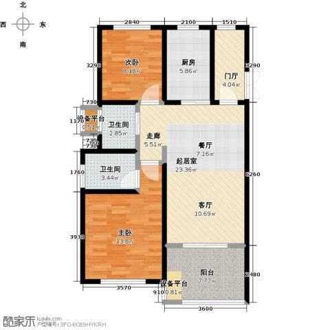 开维生态城2室0厅2卫1厨87.00㎡户型图