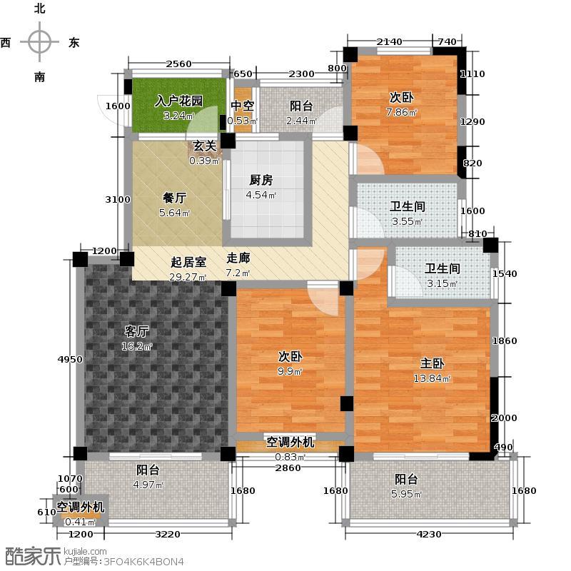 云河湾3层边户户型3室2卫1厨
